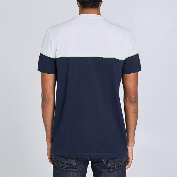 T-shirt met fluo inzetstuk