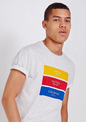 Tee shirt col rond imprimé cartouche