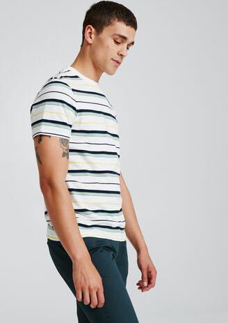 T-shirt met strepen in vervagende kleur en borduur