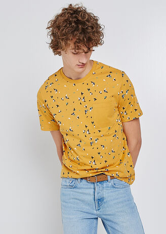 Tee shirt col rond imprimé oiseaux graphiques