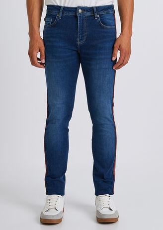 Slim jean, stone, banden opzij