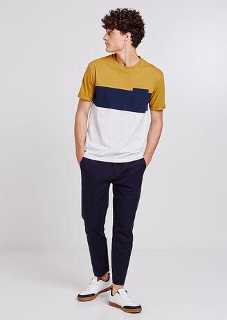 Tee shirt col rond colorblock à poche