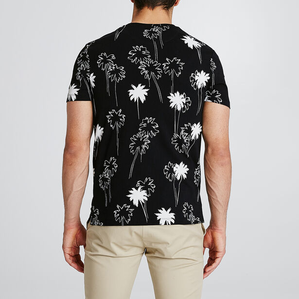 T-shirt met all-over palmboomprint