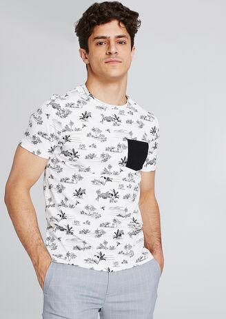 Tshirt all over palmiers avec poche contrastée