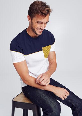 Colorblock T-shirt met print op de zak