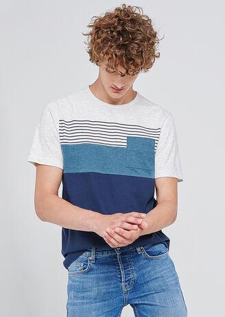 Tee shirt col rond à rayures et colorblock à poche