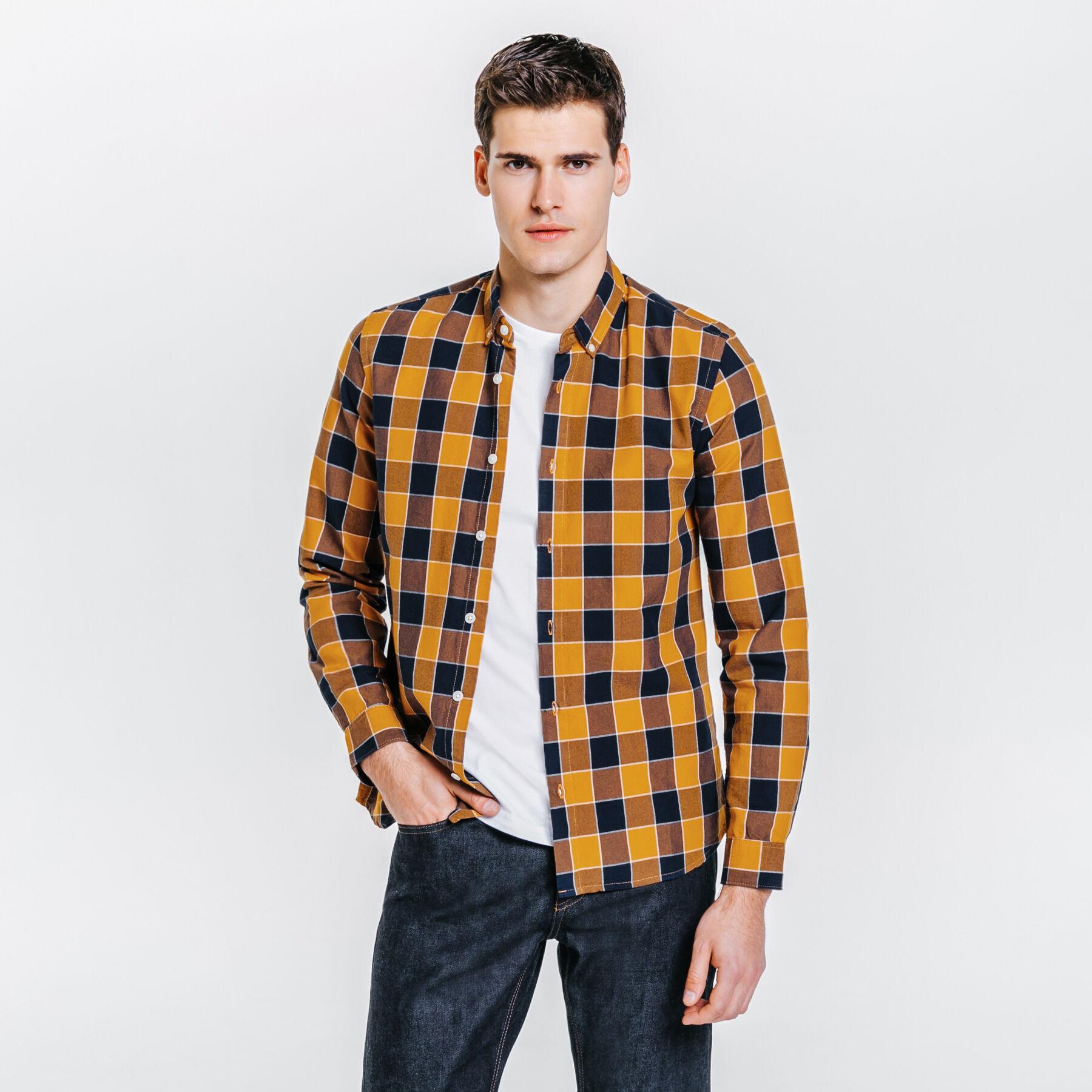 de style élégant professionnel de la vente à chaud gamme exclusive Chemise slim à carreaux Jaune Moutarde Homme - Jules