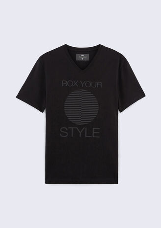Tee shirt collo rotondo stampato tipografico