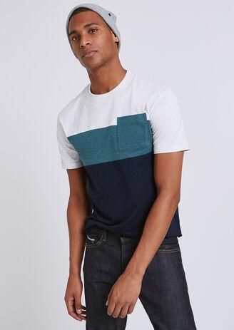 Tee shirt colorblock à poche
