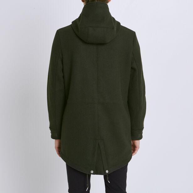 Parka in panno di lana con cappuccio