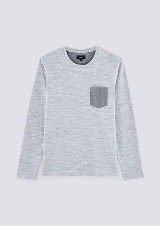 T-shirt fantasiestof met borstzak