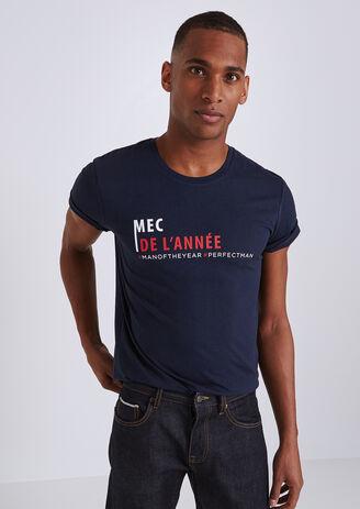 """Tee shirt col rond à message """"mec de l'année"""""""
