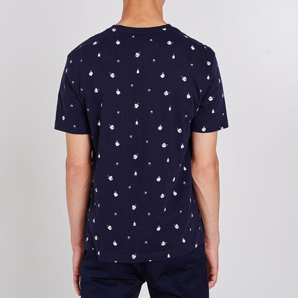 T-shirt collo rotondo stampa con motivi giapponesi