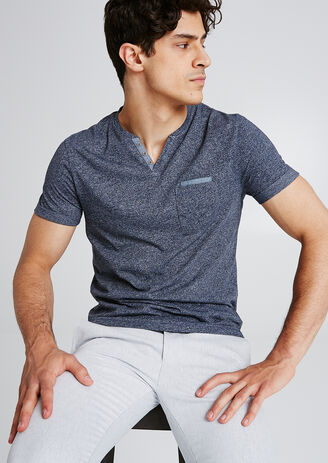 T-shirt met knooplijst in gemêleerde stof