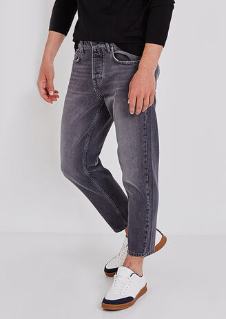 Jeans Tapered Cropped grigio