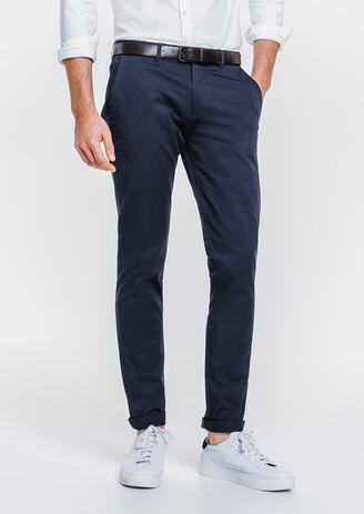 Pantalon chino slim coton stretch Bleu Homme