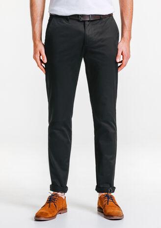 Pantalon chino slim coton stretch Noir Homme