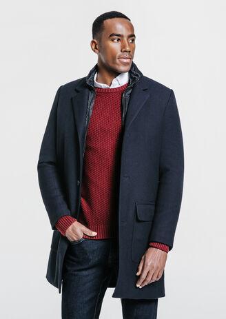 Manteau long avec parmenture Bleu Homme