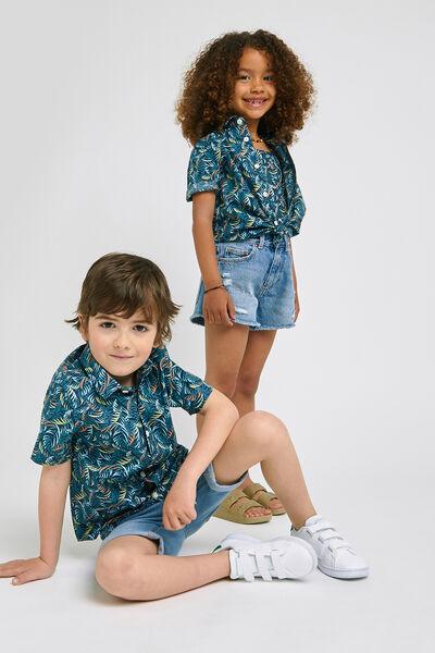 Chemise slim enfant imprimé tropical coton