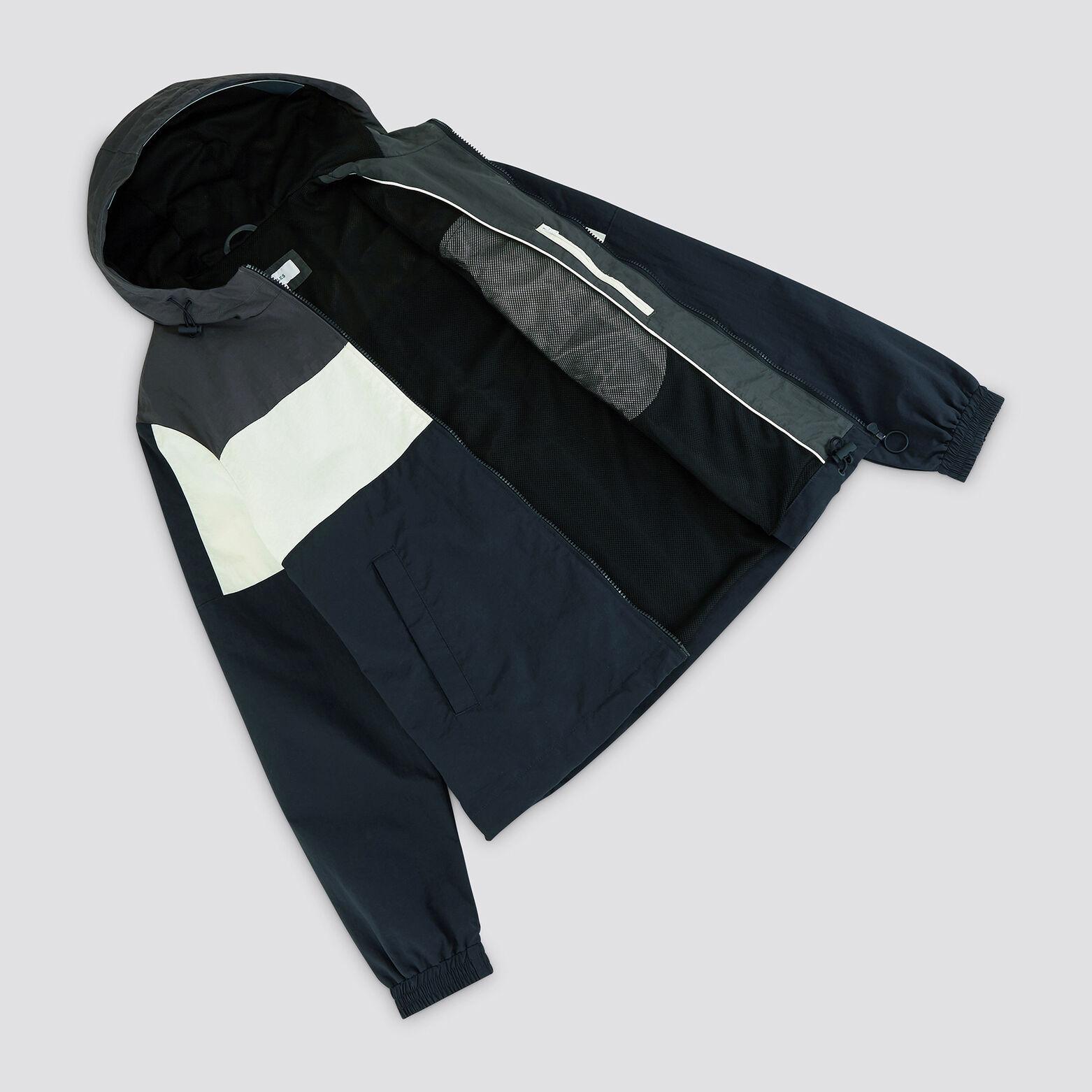 Blouson nylon colorblock à capuche