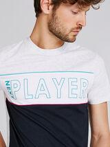 Tee shirt col rond colorblock avec inscription