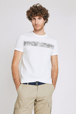 Tee shirt col rond découpe feuillage