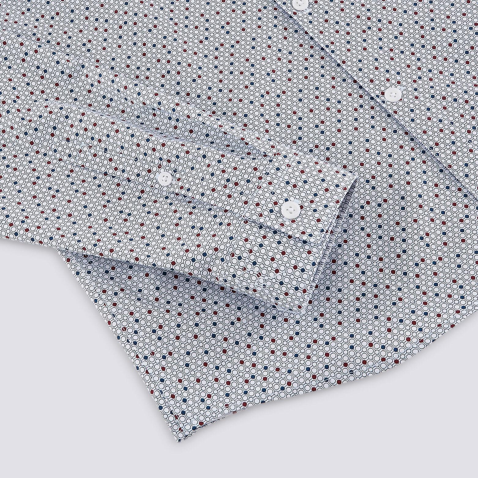 Chemise slim imprimé micro points colorés coton