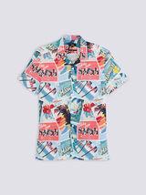 Chemise hawaïenne imprimé carte postale slim coton
