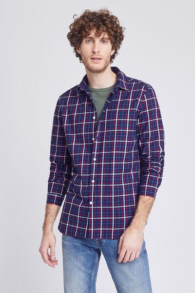 Chemise slim à carreaux flanelle