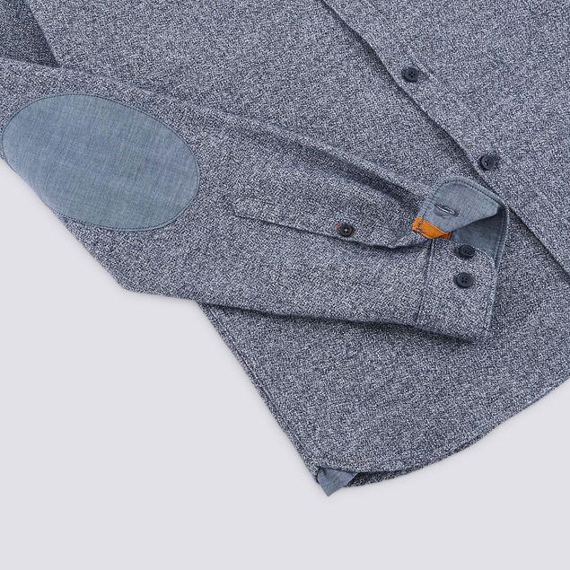 Chemise slim avec coudières flanelle chinée