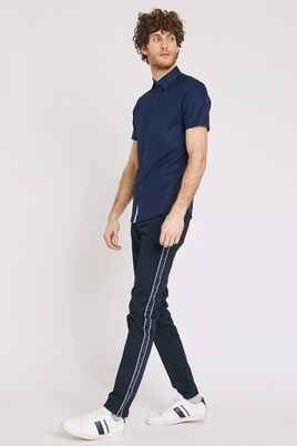 Slim chino, print met band