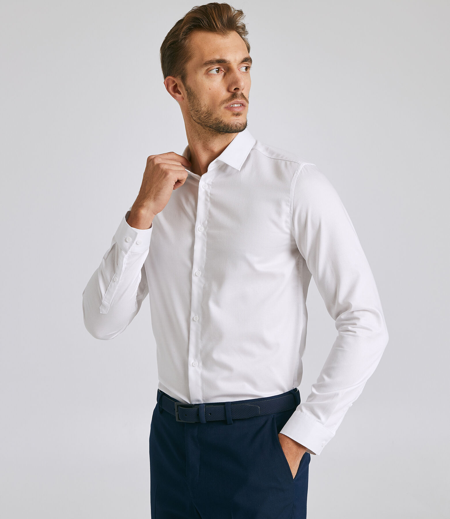 Chemise manches longues slim « stay black/white »