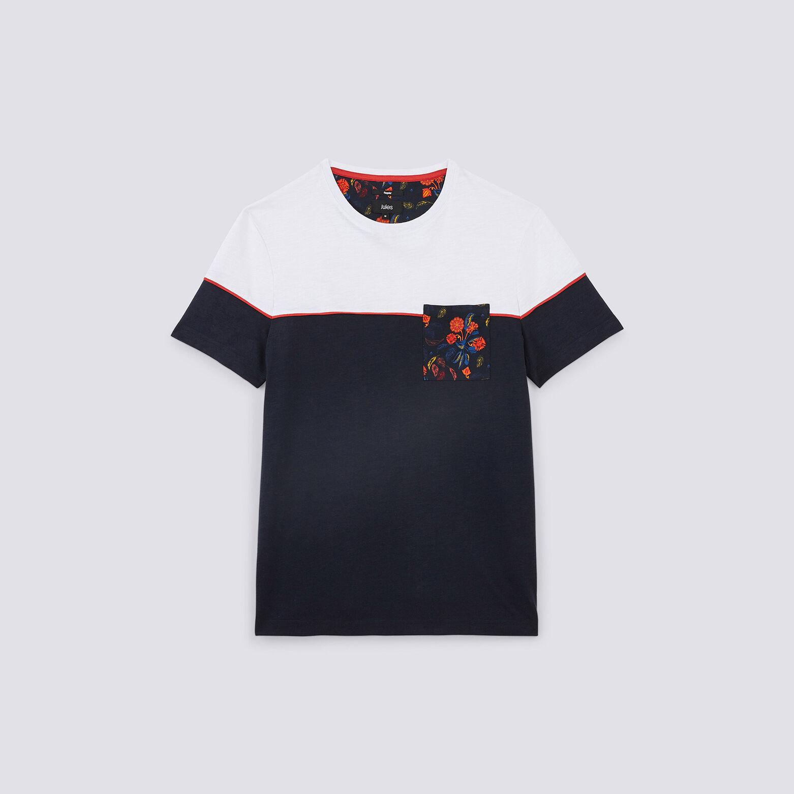 Tee shirt colorblock poche fleurie