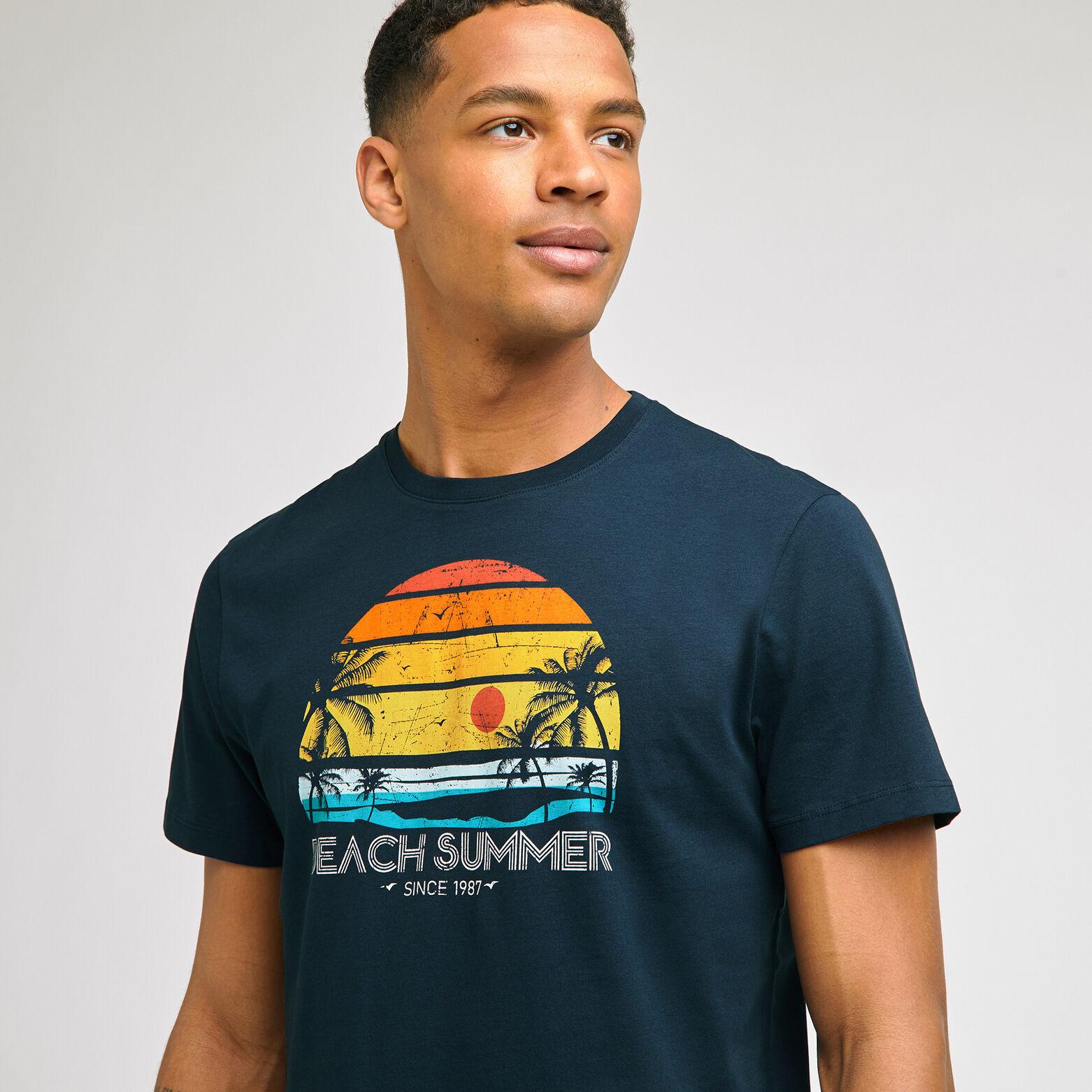 Tee-shirt imprimé placé coton issu de l'agricultur
