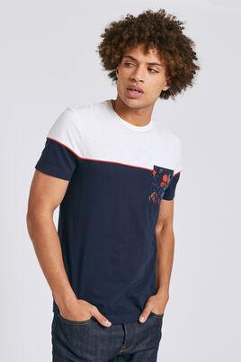 T-shirt, colorblock, borstzak met bloemenprint