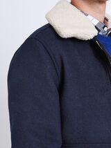 Wollen jack met afneembare kraag in schapenvacht