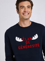 Sweat col rond motif point bouclette