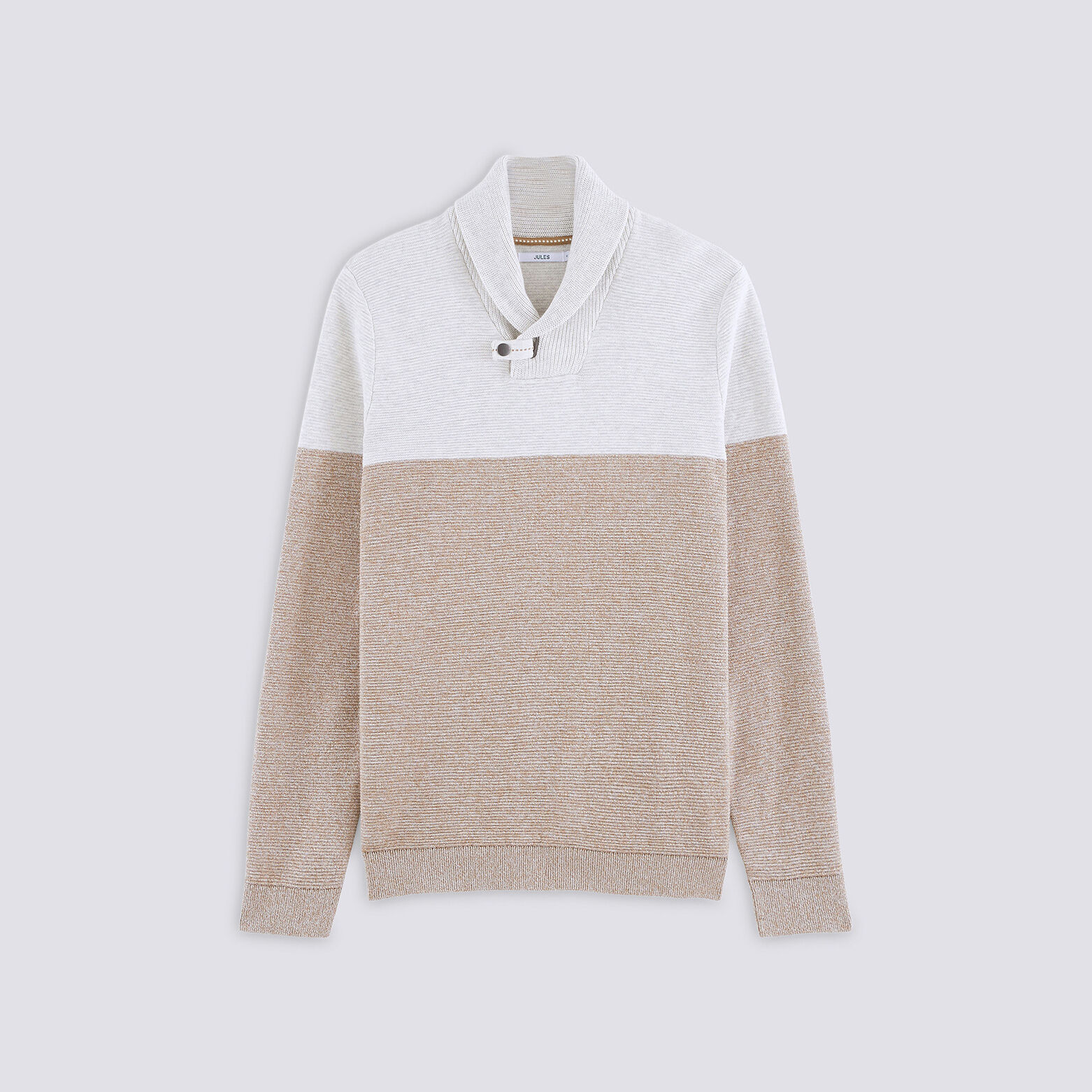 Pull col châle colorblock