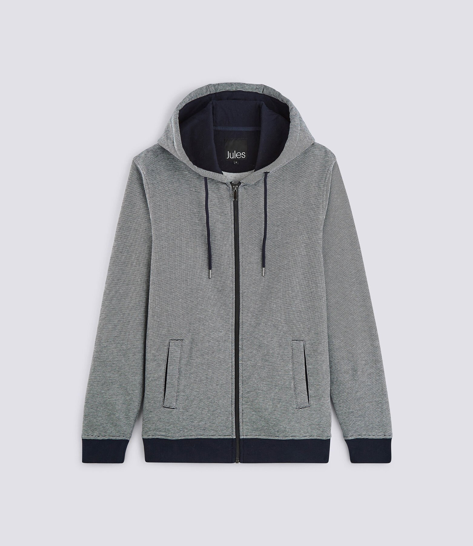 Sweat capuche micro rayé