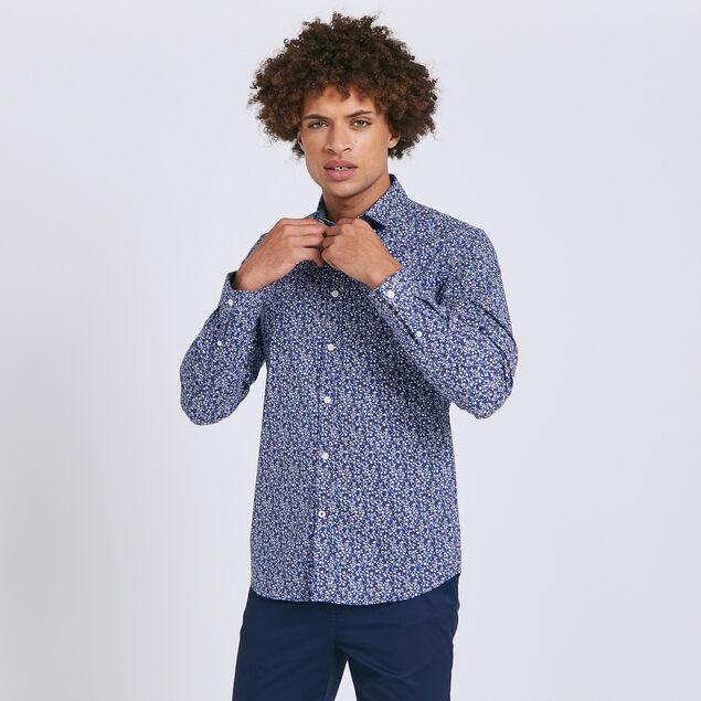 Chemise slim à fleurs coton
