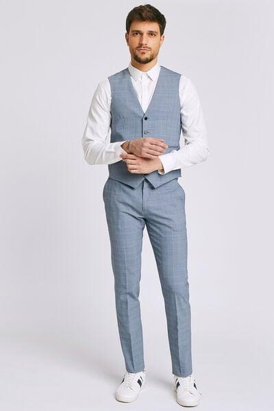 Slim kostuumbroek met prince-de-galles motief