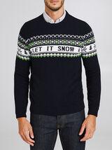 Pull col rond motif de Noël en laine