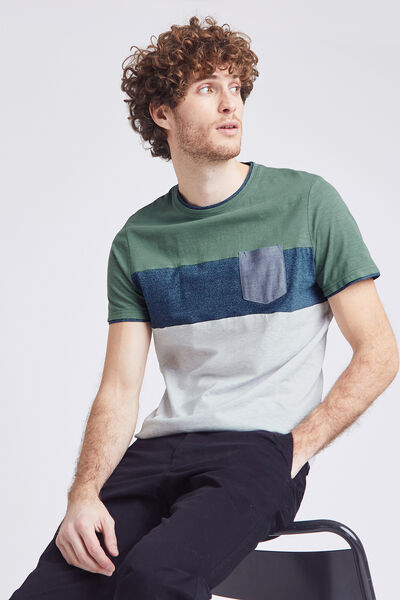Tee-shirt colorblock  détails chambray