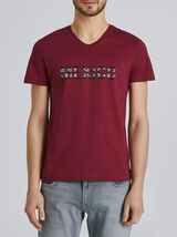 Tee-shirt manches courtes col V message MEXICO