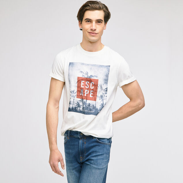 Tee-shirt imprimé et typo coton issu de l'agri bio