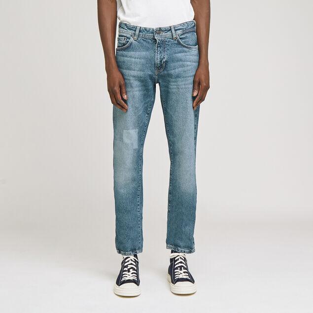Jean straight patch délavé