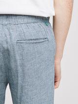 Pantalon chino coton lin faux uni