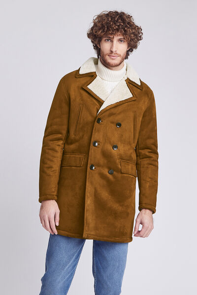 Manteau long en suédine et faux mouton