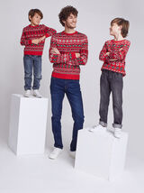 Ensemble Mini moi Pull de Noël - Rouge