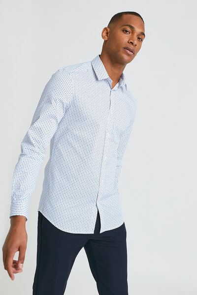 Slim hemd met dasmotief